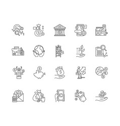 Commodity brocer line icons signs set vector