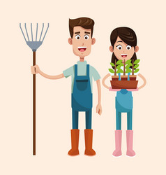 Couple farmers with pitchfork and pot plant vector