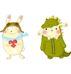 Cute bunnies in fancy dress vector