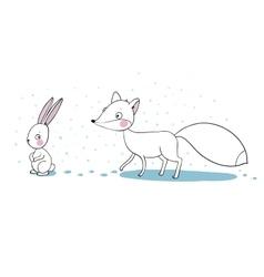 Cute cartoon fox and hare vector