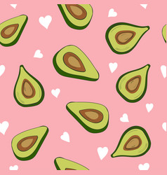 Cute seamless pattern with avocados and hearts vector