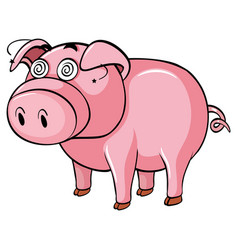Dizzy pig on white background vector
