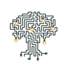 drawing a maze of electrical wires to plug and vector image