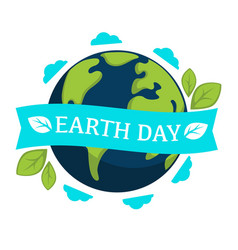 earth day isolated icon planet and plant leaves vector image
