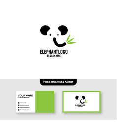 Elephant logo template free business card mockup vector