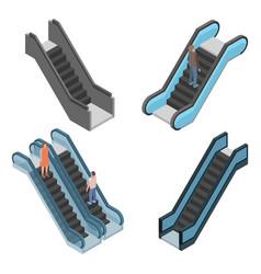 Escalator icon set isometric style vector