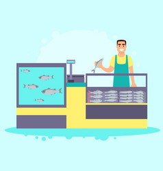 Fish store interior vector