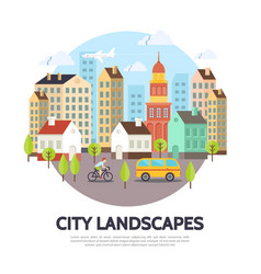 Flat cityscape concept vector