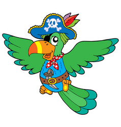 Flying pirate parrot vector