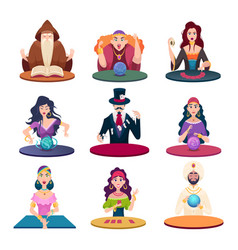 fortune tellers with magic balls gypsy crystal vector image