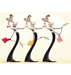Funny waiters with different wines vector image