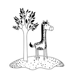 giraffe cartoon next to the tree in black dotted vector image