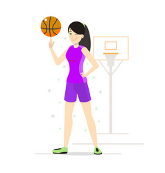 Girl playing basketball in cartoon style vector