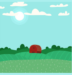 green landscape with hills and fields lovely vector image