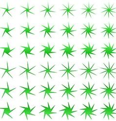 Green thin asymmetric star shape set vector image