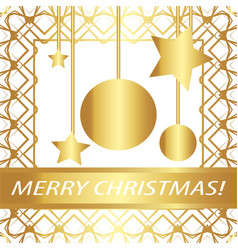 greeting card merry christmas vintage golden vector image