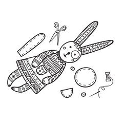 Handmade sewing bunny with tools vector
