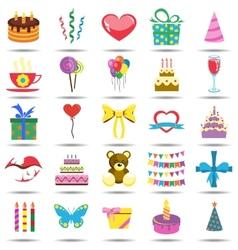 Happy Birthday Icons vector image