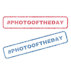 Hashtag photooftheday textile stamps vector