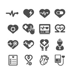 Heart icons medical and healthcare concept glyph vector