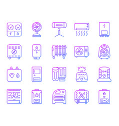 Hvac simple color line icons set vector