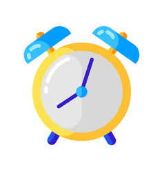 Icon alarm clock in flat style vector