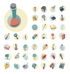 icons vintage set flat circle education vector image
