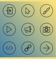interface icons line style set with start vector image