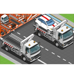 Isometric Tow Truck in Car Assistance vector