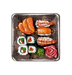 japanese food menu vegetarian set from a splash vector image