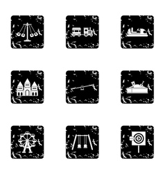 Kids games icons set grunge style vector