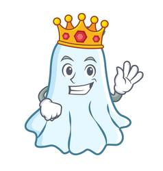 King cute ghost character cartoon vector
