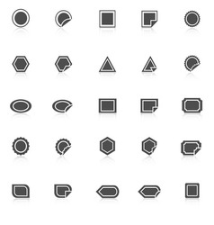 Label icons with reflect on white background vector image