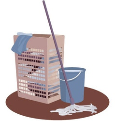 Laundry hamper bucket and mop vector