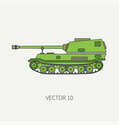 Line flat color icon self-propelled vector