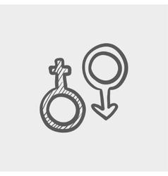 Male and female symbol sketch icon vector