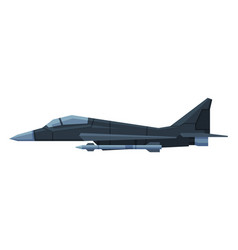 military black aircraft fighter modern jet vector image