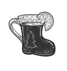 mulled wine glass in form boot sketch vector image