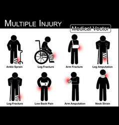 multiple injury set vector image