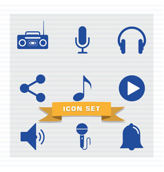 musical icon set flat style vector image