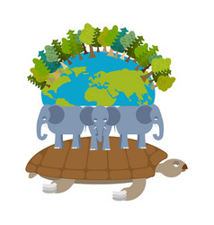 Mythological planet earth turtle carrying vector
