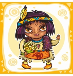 North american indian boy vector