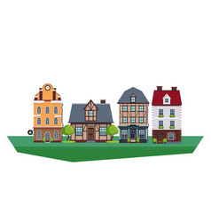 old vintage country and city houses vector image