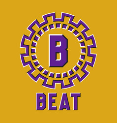Optical illusion beat logo in round moving frame vector