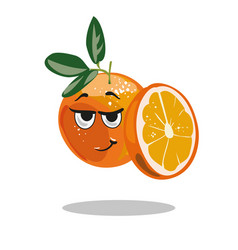 Orange character with smart look and half cut vector