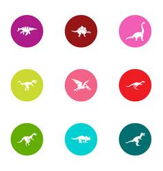 pangolin icons set flat style vector image