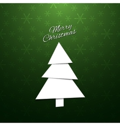 Paper Christmas Tree on a green background vector
