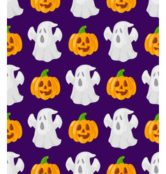 Patttern with cartoon pumpkins and ghosts vector