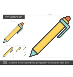 Pen ballpoint line icon vector