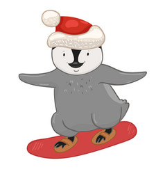 Penguin on a snowboard isolated on a white vector